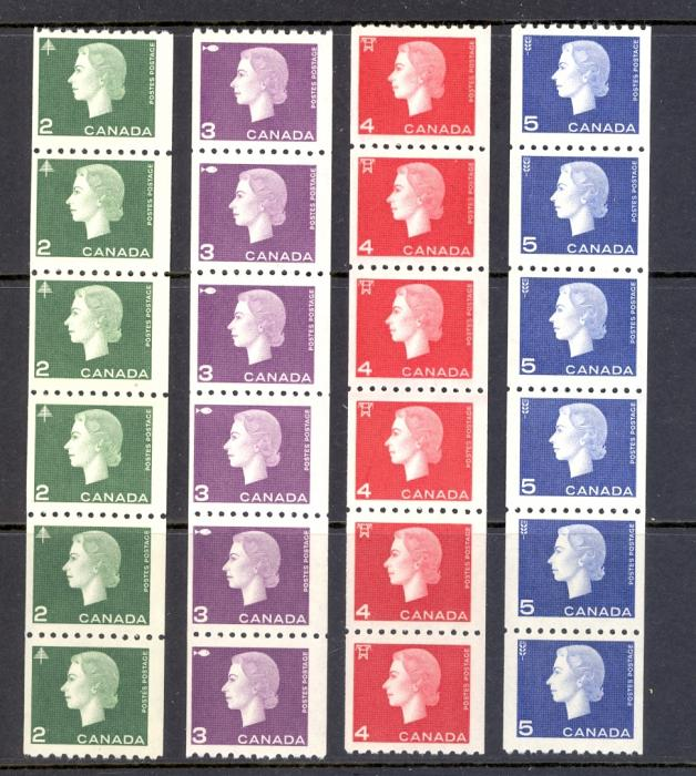 CANADA COILS SG 532-34 SET 1963 IN STRIPS OF 6. UNMOUNTED MINT.