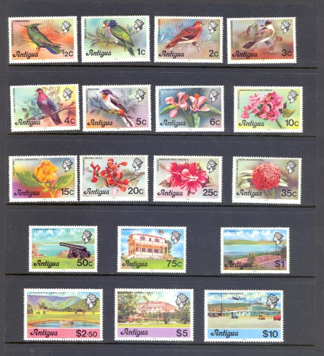 Antigua SG 469B-86B 1978 Birds, Flowers and Scenes Definitve Set. MNH