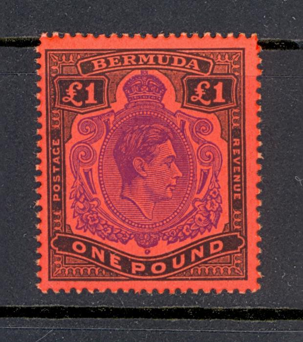 Bermuda SG 121e 1952 GVI �1 Value Bright Violet Colour.