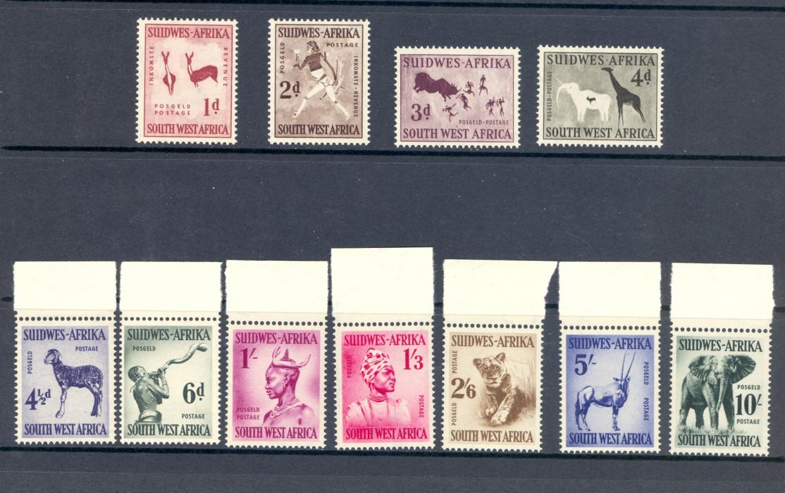 South West Africa SG 154-65 1954 Animals and Arts Set.