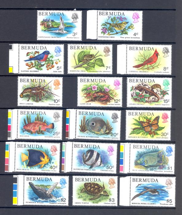 Bermuda SG 387-403 1978 Wildlife Set of 17. MNH