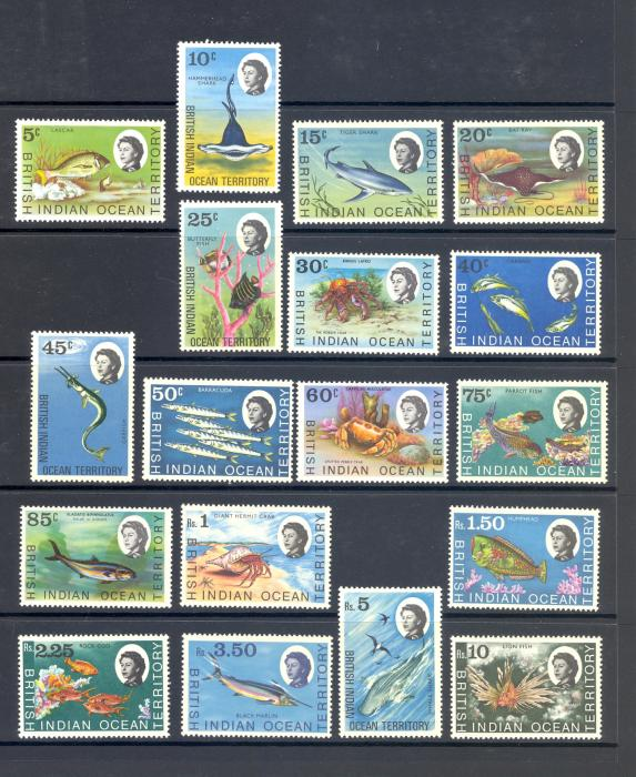 British Indian Ocean Territory SG 16-30 1968 Marine Life Set. MNH