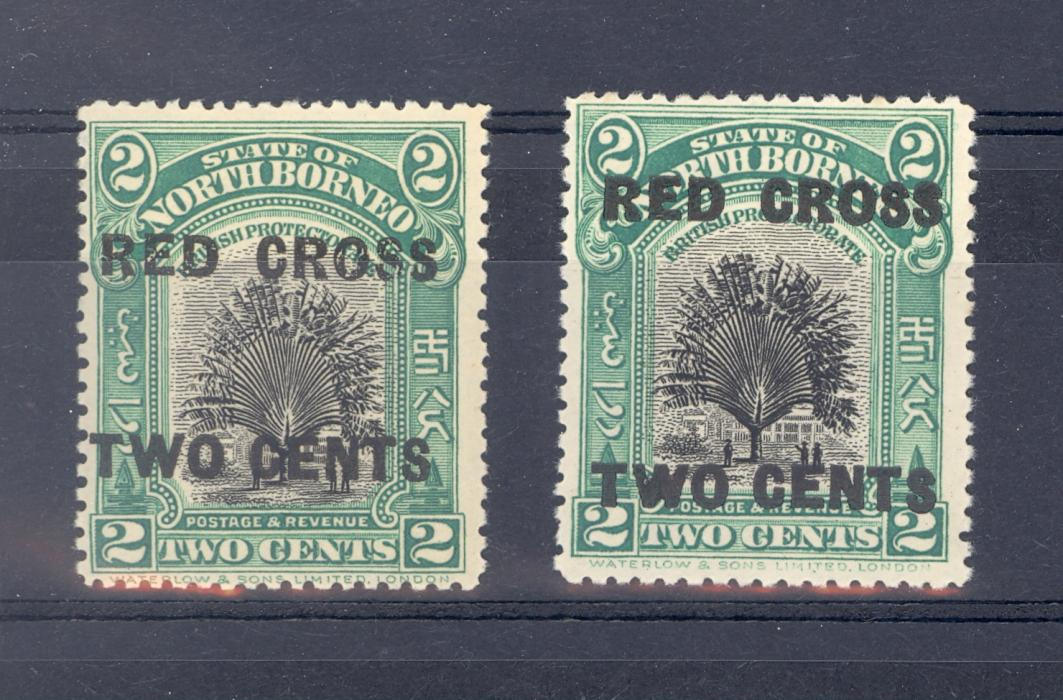 North Borneo SG 227 Red Cross Wide Overprint Surcharge + SG 215 Normal MNH