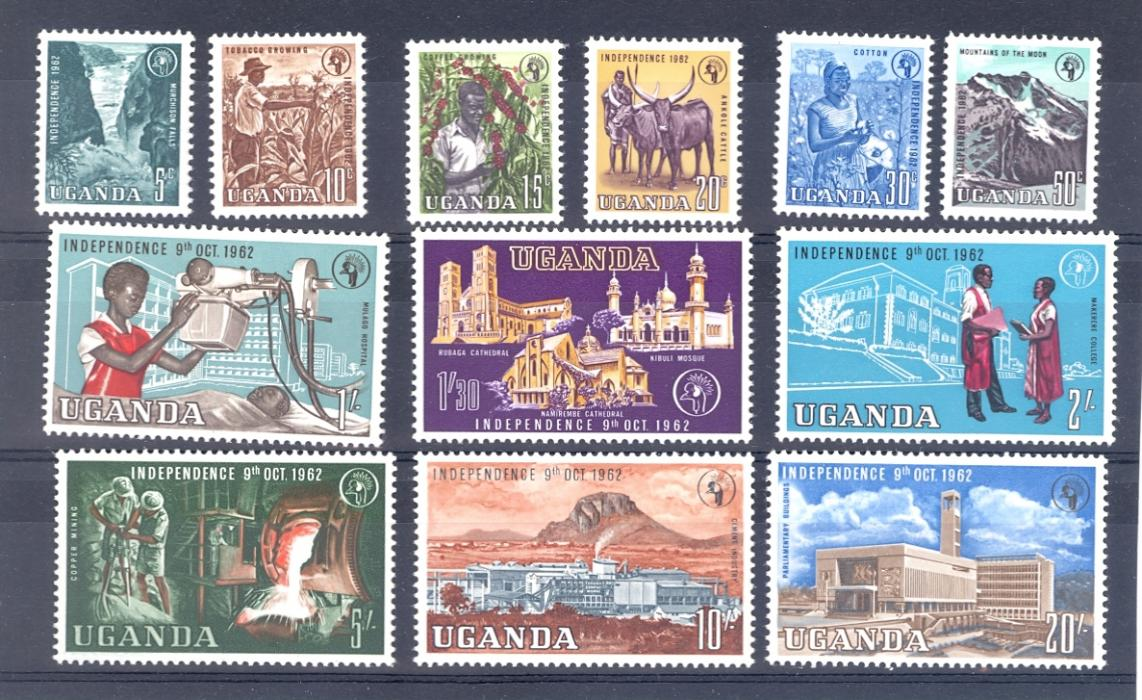 Uganda Sg 99-110 1962 Definitive Set  top 4 values MNH rest M/M