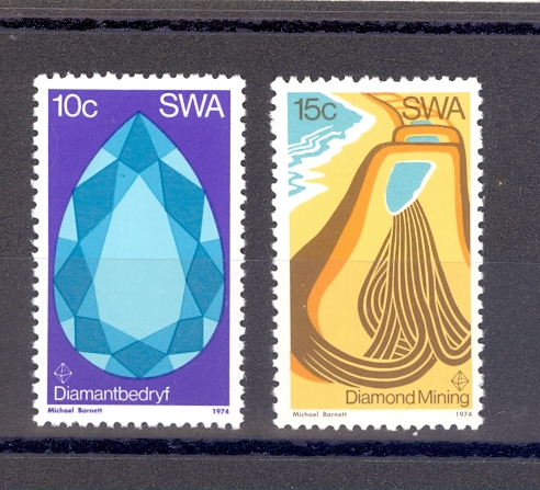 South West Africa SG 267-268 1974 Diamond Mining.MNH