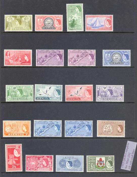 BERMUDA SG 135-50 1953 Q E II DEFINITVE SET INC TYPE II 3d & 1/-3d SET OF 20 M/M