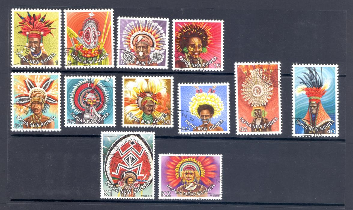 Papua New Guinea 1978 Head Dress Set Of 12 Fine Used