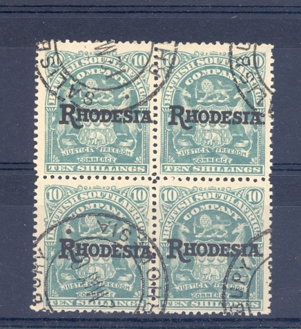 Rhodesia Sg 112 1909 10/- High Value in Block Of 4 C.T.O.