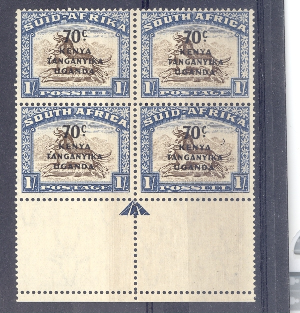 KENYA UGANDA TANGANYIKA GVI SG 154a 1941 CRESCENT MOON VARIETY BOTTOM RIGHT HAND STAMP IN BLOCK OF 3