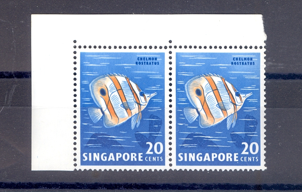 "Singapore SG 71b 1962 Butterfly Fish ""Nicked Fin""