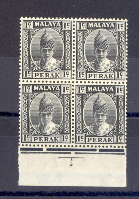 Malaya Perak SG 103 1938 1 cent Black as a Block of Four MNH