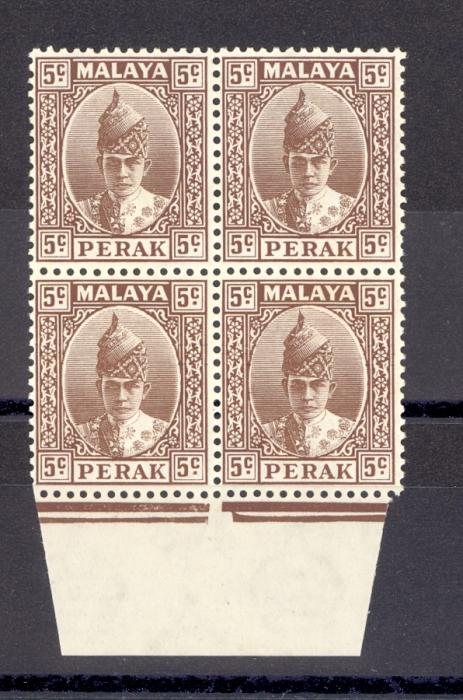 Malaya Perak SG 108 1938 5 cents Brown as a Block of Four MNH