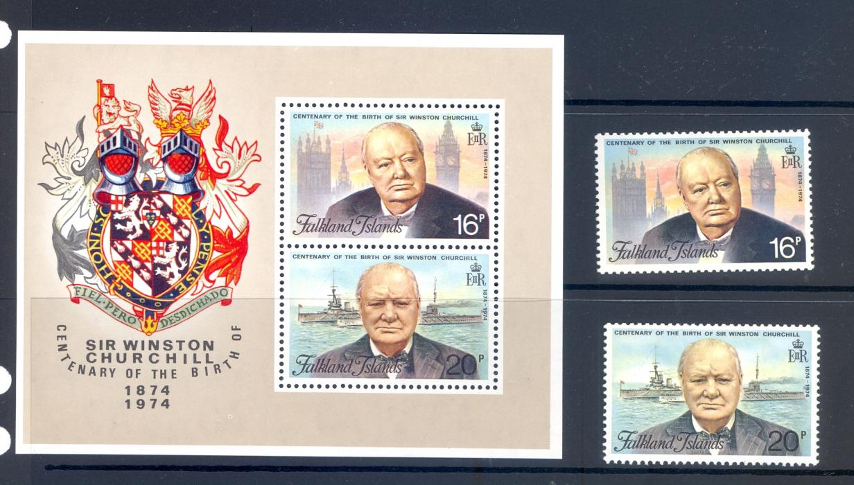 Falkland Islands SG 304-5 + MS 306 Birth Centenary Winston Churchill 1976 MNH