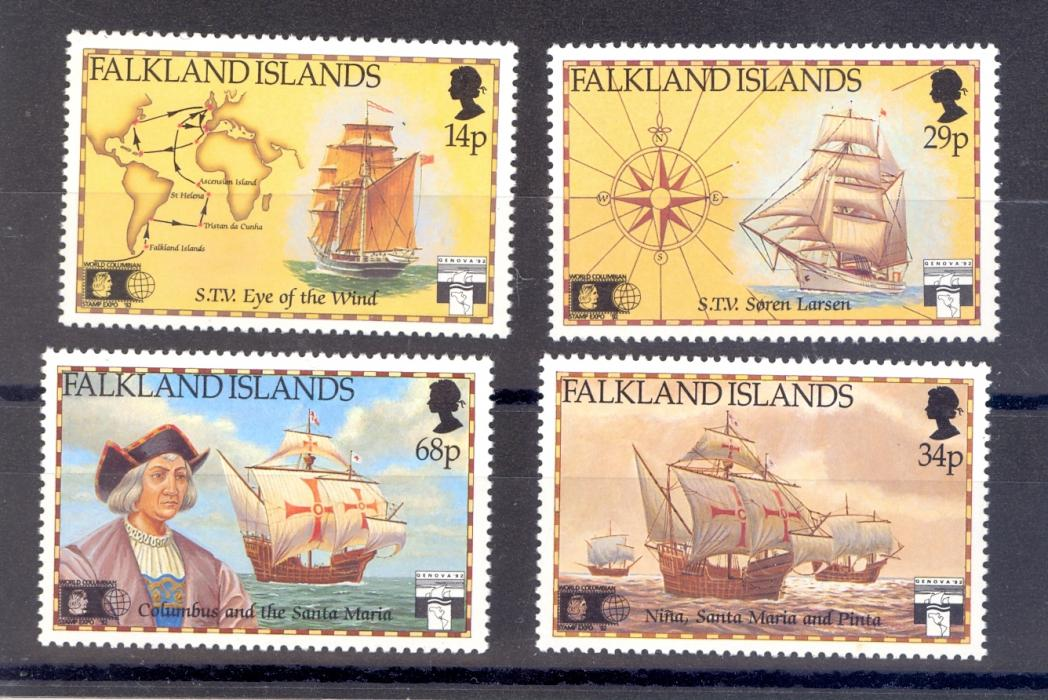 Falkland Islands SG 643-6 Anniversary Discovery of America By Columbus set from 1991 MNH