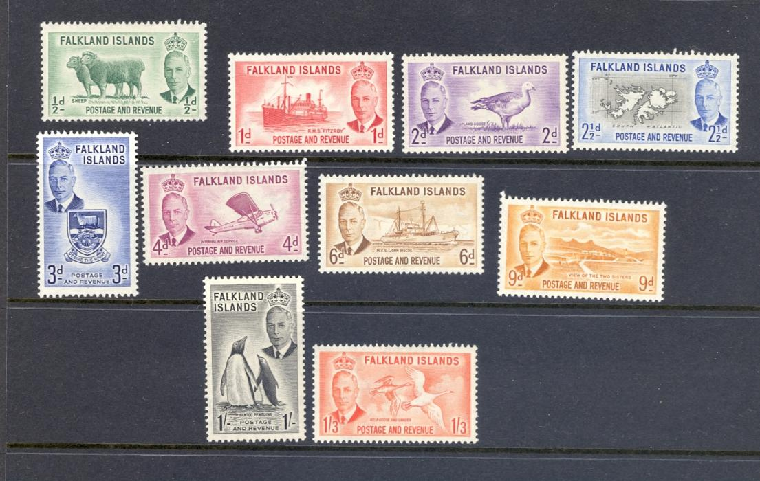 Falkland Islands SG 172-181 1952 GVI Definitive Set Up To 1/-3d. M/M