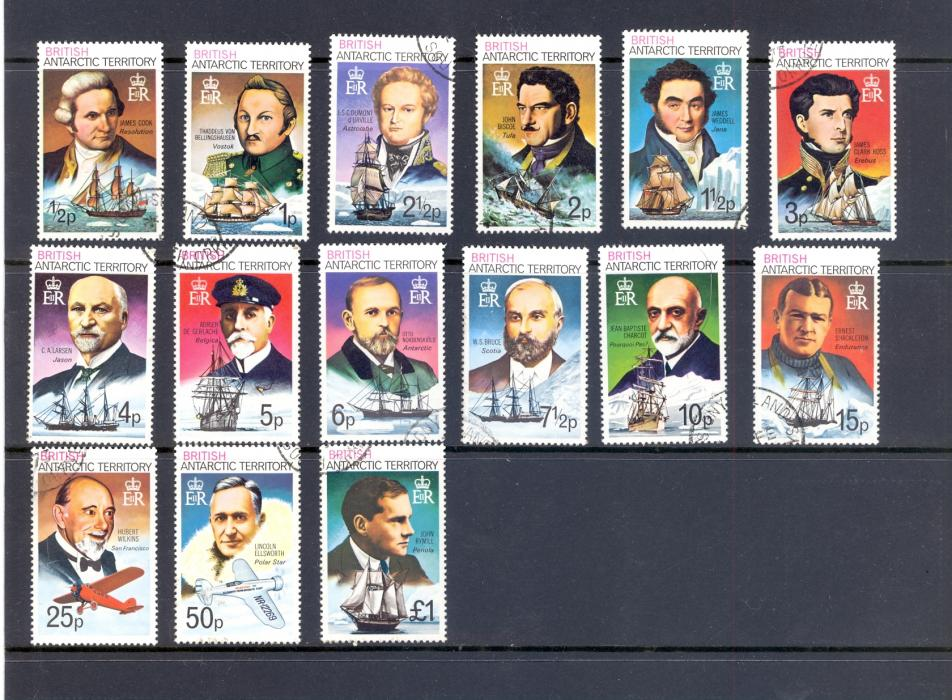 British Antarctic Territory 1973 SG 44-58 Explorers Set Fine Used.