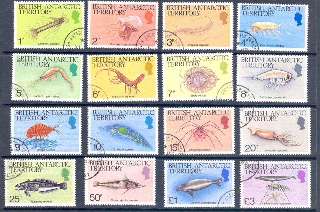 British Antarctic Territory 1984 SG 123-38 Marine Life Set Fine Used.
