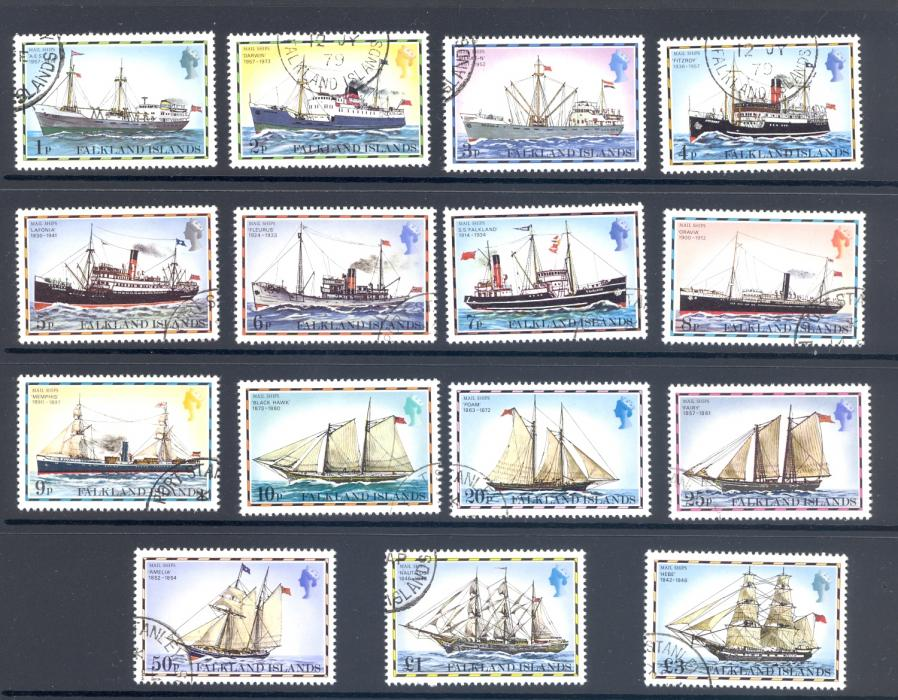FALKLAND ISLANDS SG 331A-45A MAIL SHIPS SET OF 15 FINE USED