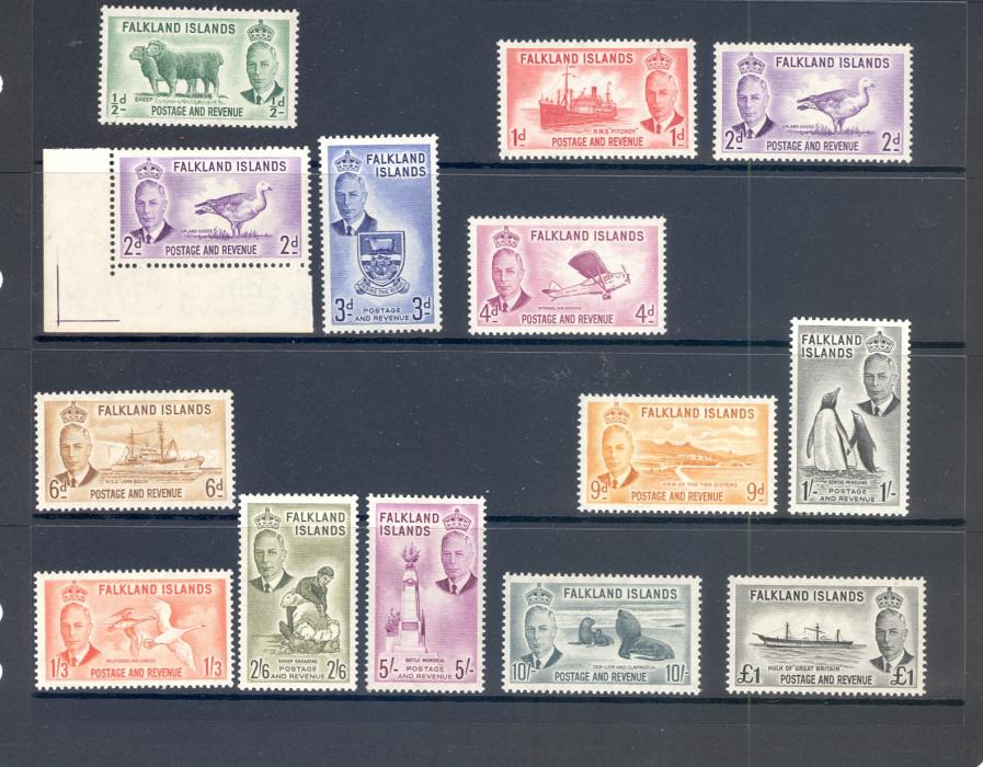 Falkland Islands SG 172-85 1952 GVI Set.
