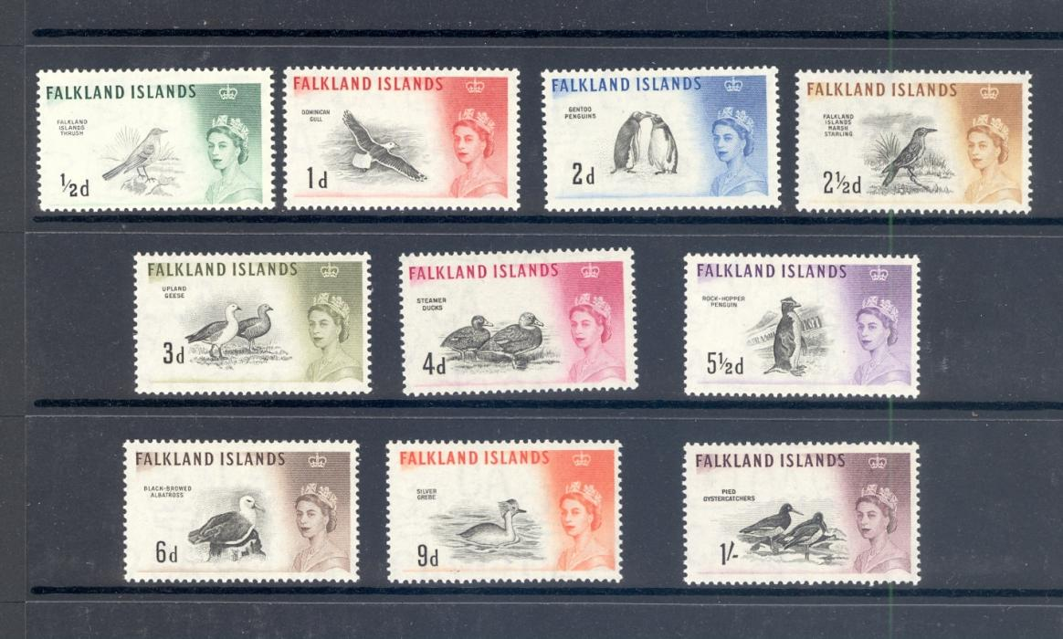Falkland Islands SG 193-207 1960 Birds Definitive Set.