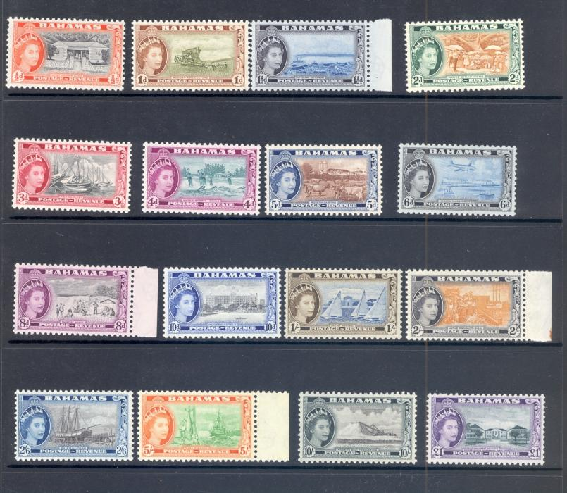 Bahamas SG 201-16 1954 QE II Definitive Set.