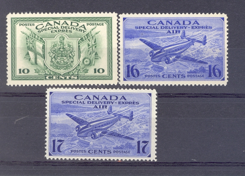 Canada Special Delivery Air SG S12 - 14  GVI 1942 Set of 3