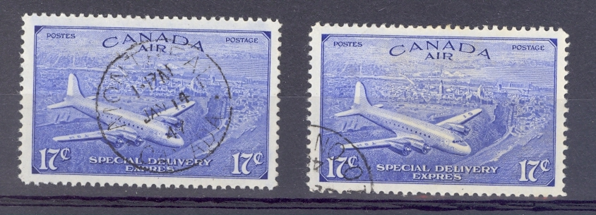 Canada Special Delivery Pair SG S16-17  GVI 1946 Fine Used.