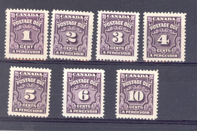 Canada Postage Due Set SG  D 18-24 1935-5. Unmounted Mint