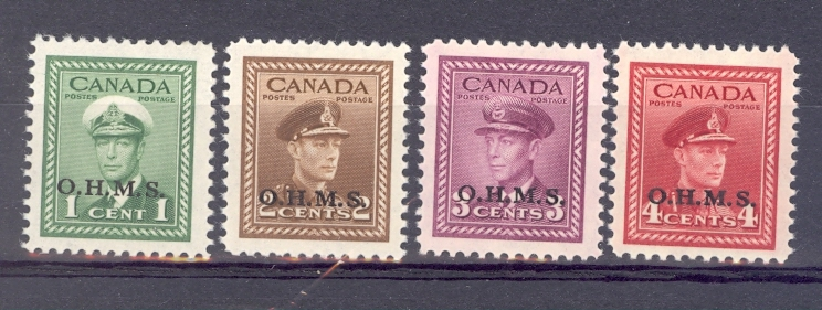 Canada SG 0162 - 5 GVI O.H.M.S Overprint 1949 Low Values. Unmounted Mint.