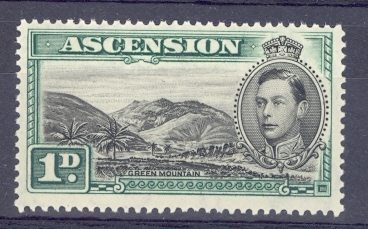 Ascension SG 39 GVI The Scarcer 1 d Black & Green Value. Unmounted Mint.