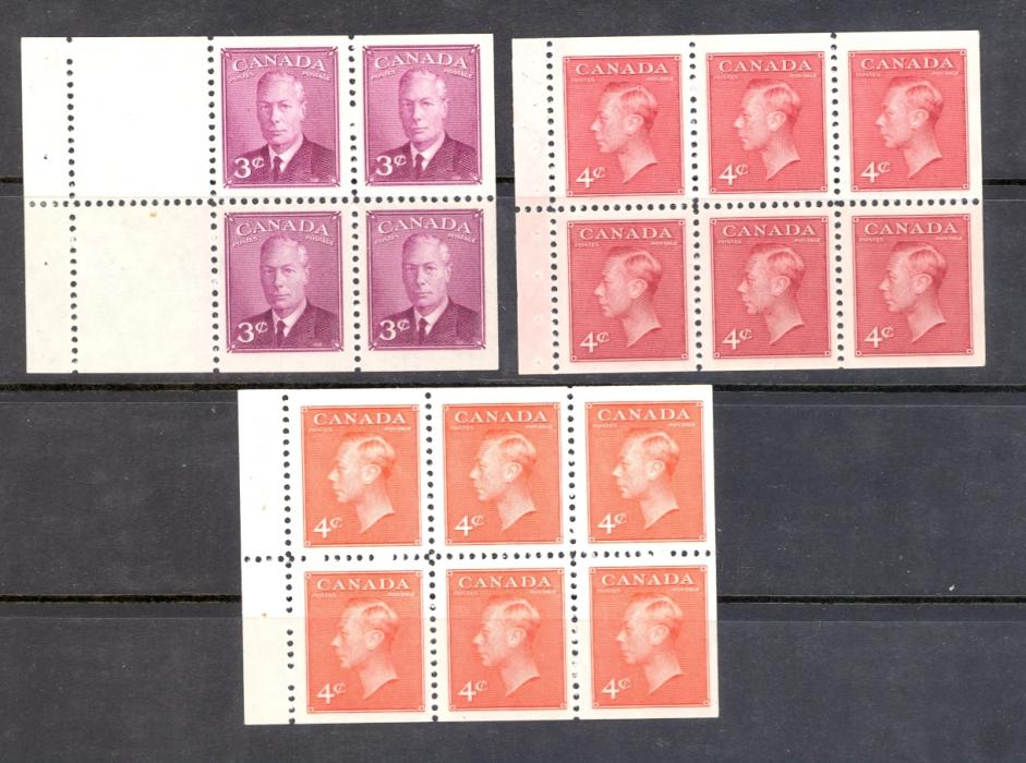 Canada SG 416a, 417a, 417bc GVI 1950-1 Booklet Panes. Lightly Mounted Mint.