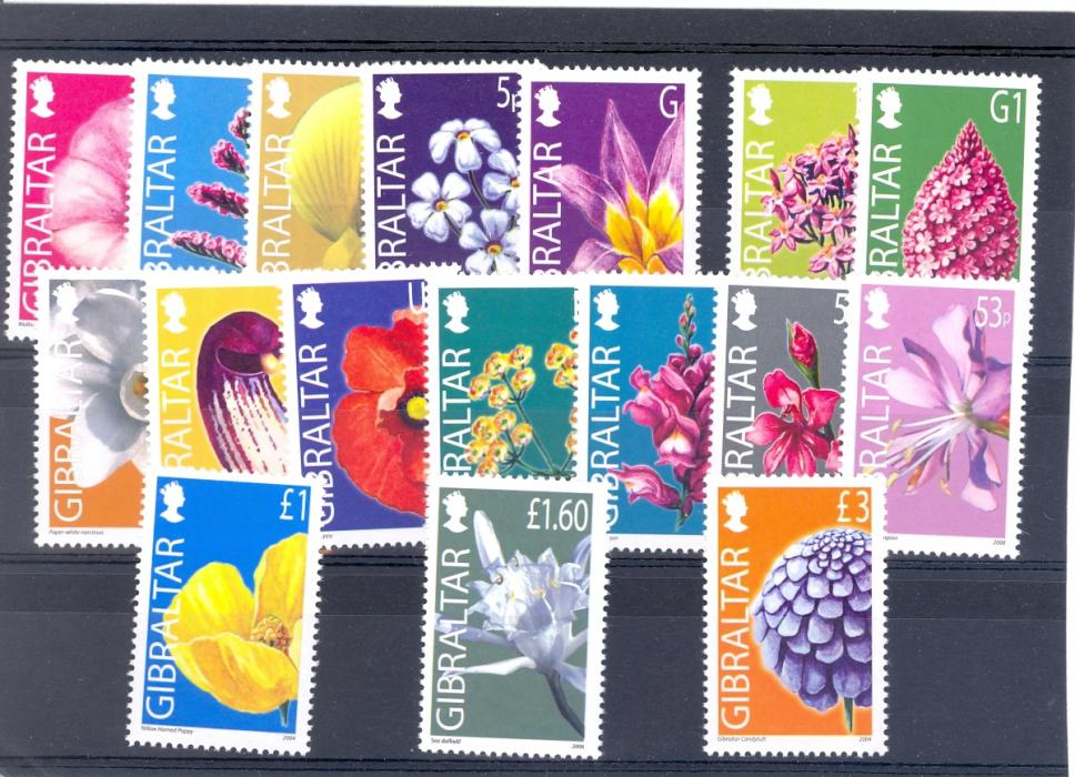 Gibraltar SG 1094-1106 2004 Wildflower Set. Unmounted Mint.