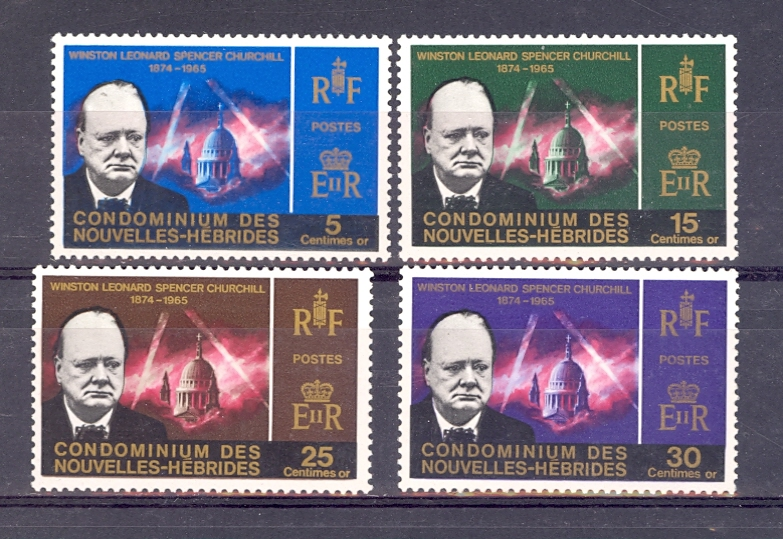 New Hebrides Churchill Set. SG 16-19. Unmounted Mint.