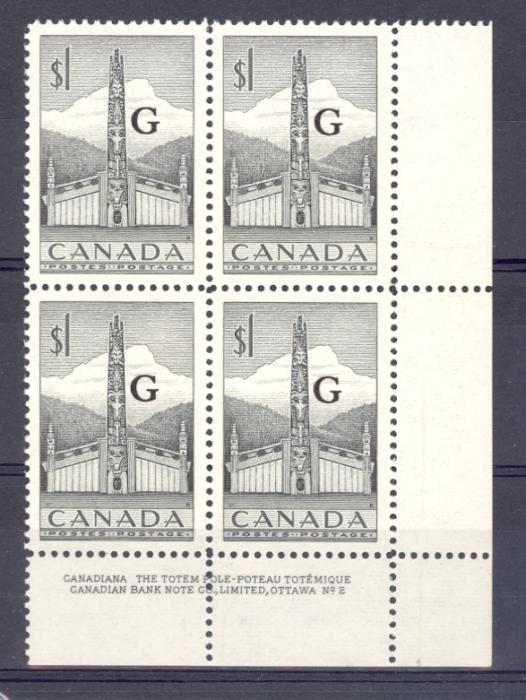 Canada SG O195 1952 $1 Totem Pole Official Plate Block. Unmounted Mint.