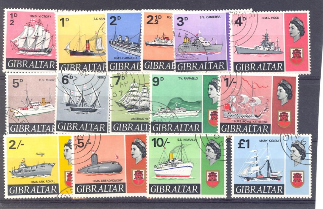 Gibraltar SG 200-213 1967 Ships Set QE II Definitive Set Fine Used.