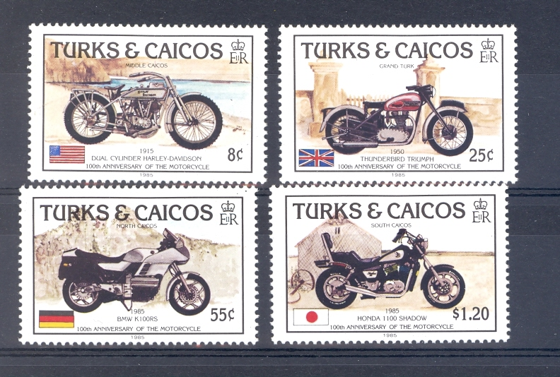 Turks & Caicos 1985 Centenary of the Motorcycle. SG 868-871. Unmounted Mint