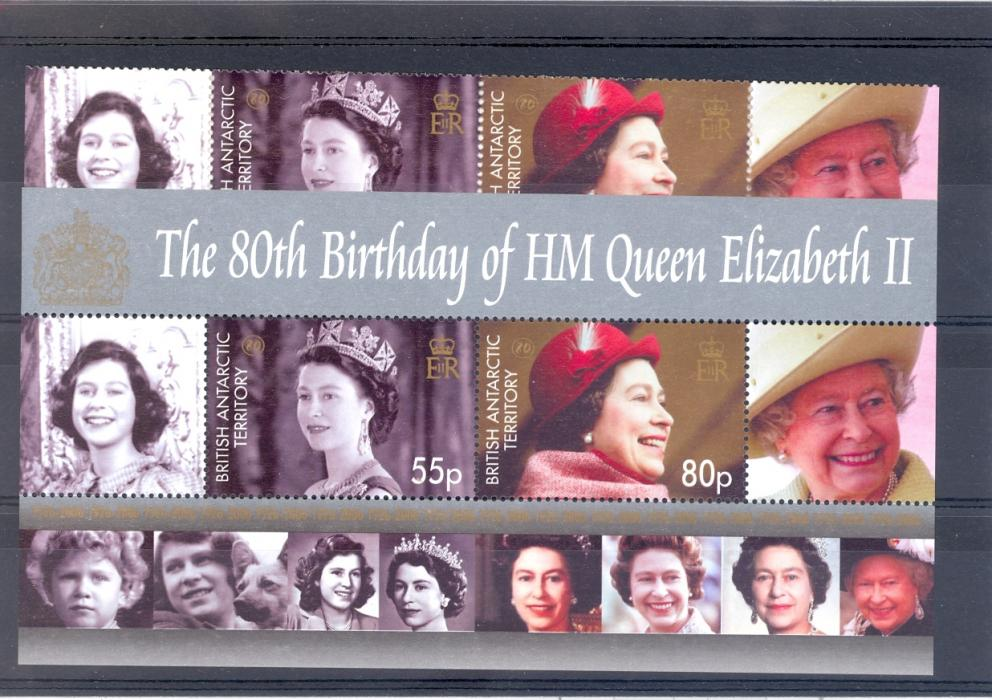 British Antarctic Territory 2006  QE II 80th Birthday. Set + Miniature Sheet. Unmounted Mint.