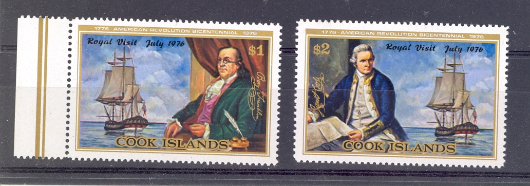 Cook Island SG 541-542  1976 Bicentenary of American Revolution. Unmounted Mint.