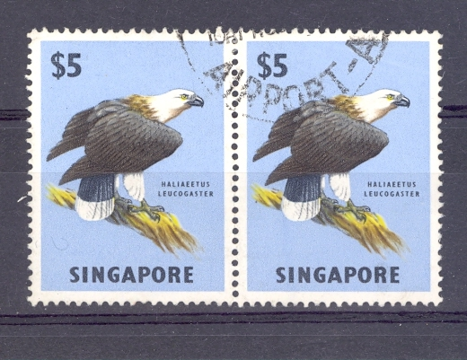 Singapore SG 77GVI 1962 $5 Sea Eagle Fine Used Pair