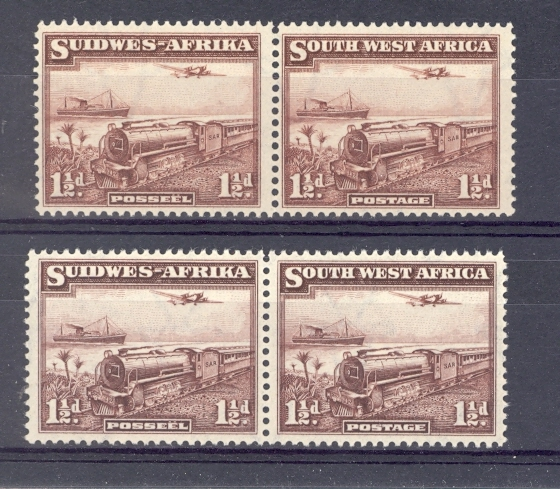 South West Africa GVI 1937 Train Stamp Pair. Two Shades. Unmounted Mint