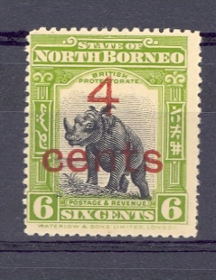 North Borneo SG 187 1916 6 Cent Sumatran Rhinoceros Surcharged 4 cent. Mounted Mint