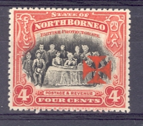 North Borneo SG 192 1916 Red Cross Overprint in Vermilion Lightly Mounted Mint