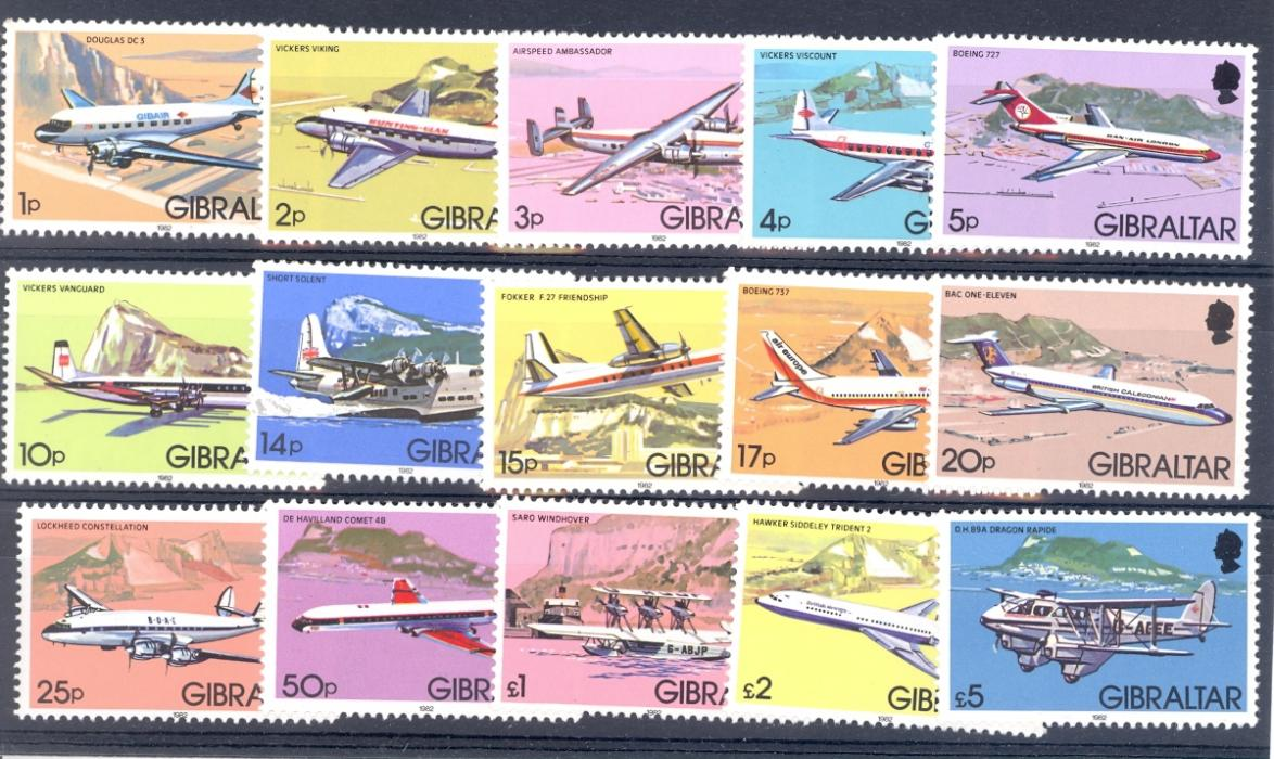 Gibraltar SG 460-474 1982 Aircraft Set. Unmounted Mint