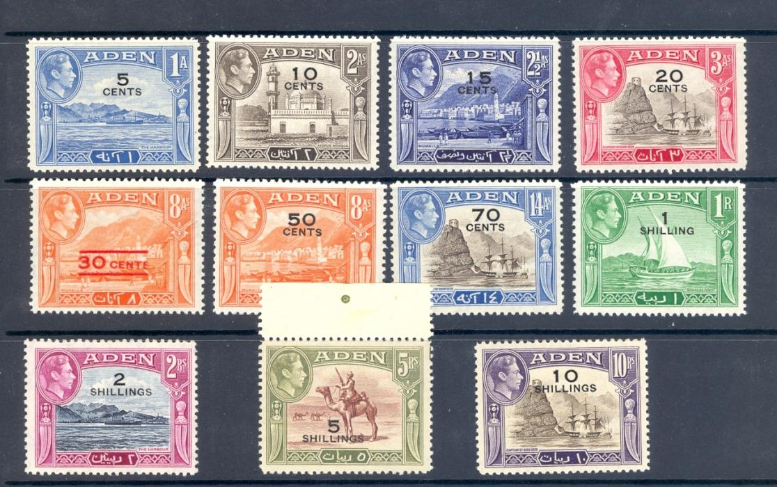 Aden SG 36-46 1951 GVI Surcharge Set of 11 Mounted Mint.