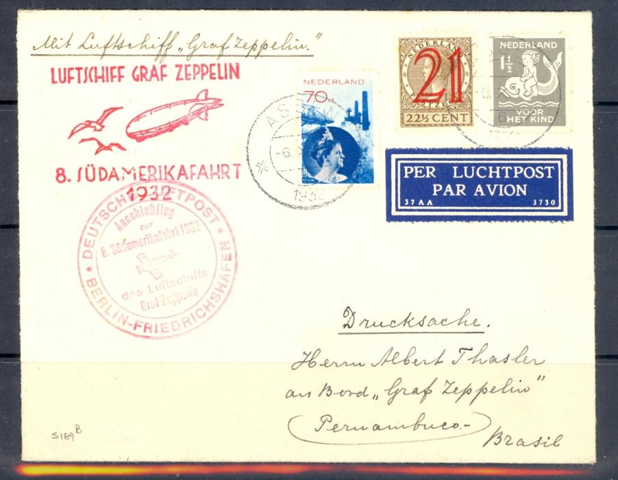 Zeppelin Cover Netherlands to Brazil 1932 Catalogue  Number Sieger 189B