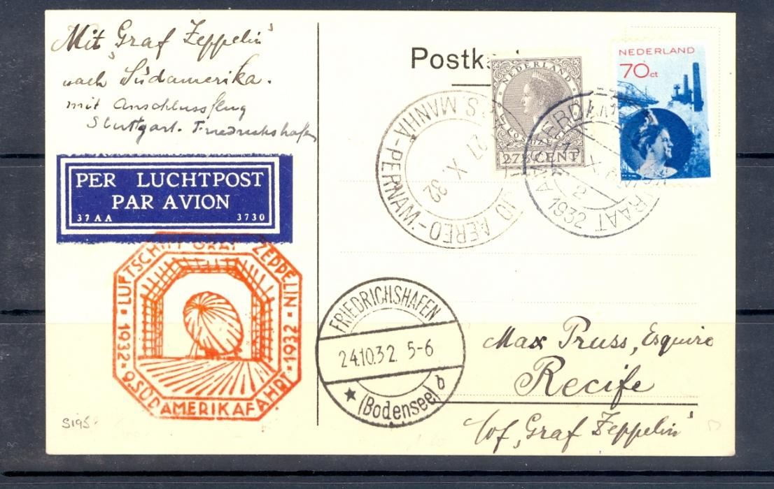 Zeppelin Cover Netherlands 1932 Catalogue Number Sieger 195