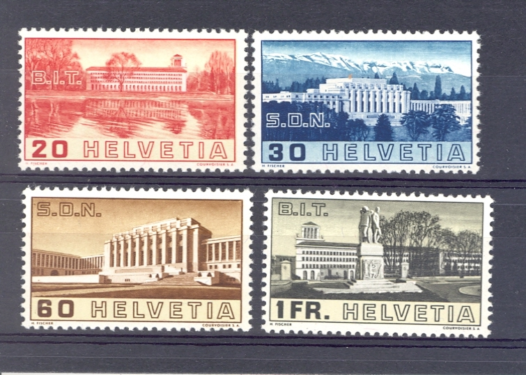 Switzerland SG 382-385 1938 League of Nations Set. Unmounted Mint