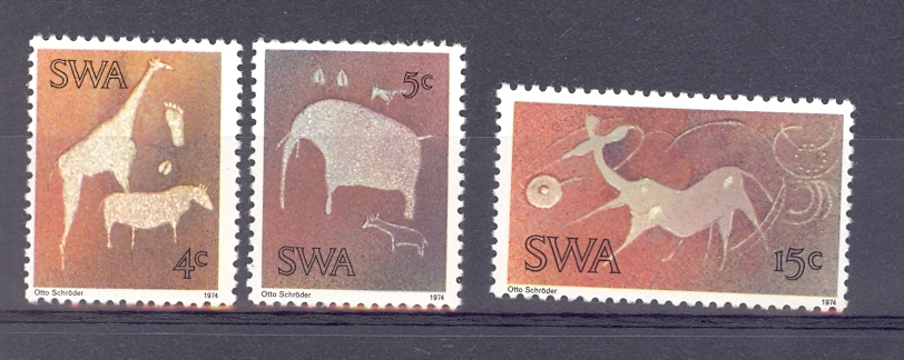 South West Africa SG 264-266 Cave Paintings of Wild Animals. Unmounted Mint.
