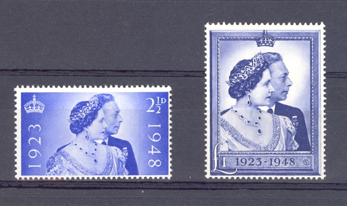 Great Britain 1948 GVI Silver Wedding Pair. Unmounted Mint