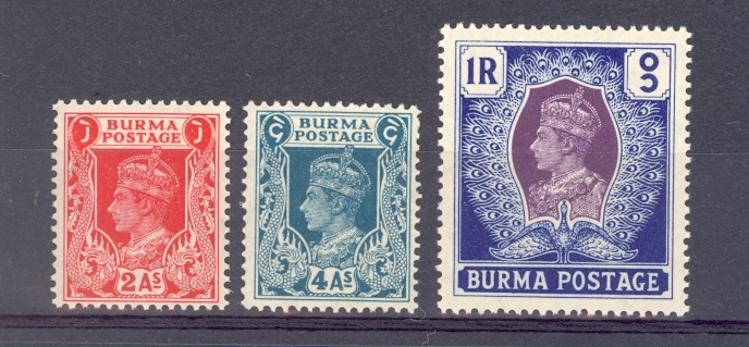 Burma Sg 24, 28,30 1938 GVI Stamps. Unmounted Mint and White Gum.